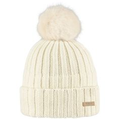 Barts Linda Beanie, One Size, Cream ($24) ❤ liked on Polyvore featuring accessories, hats, beanie cap hat, barts beanie, pom pom beanie hat, pompom hat and pom pom hat