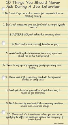 10 Things You Should Never Ask During a Job Interview Forbes came up with a list of 10 questions you should never ask during an interview. Some of these may seem like no-brainers, but even accidentally asking one of these questions could cause your resume Job Interview Preparation, Interview Answers, Interview Skills, Job Interview Questions, Job Interview Tips, Interview Tips Weaknesses, Interview Quotes, Interview Process, Job Resume
