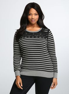 Striped Lace Inset Sweater | Torrid