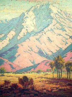 "Early California Impressionism - ""Old Las Palmas, Palm Springs"" by Sam Hyde Harris Landscape Paintings, Fine Art, Southwest Art, Western Art, Painting, American Impressionism, Art, California Art, Landscape Art"
