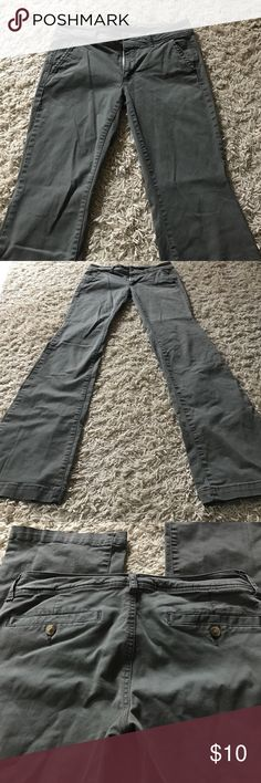 "AE kick boot pants Khaki green - size 6 X-long - very good condition, just need ironing! 😄 inseam 35"". Waist 16"" flat across American Eagle Outfitters Pants Trousers"