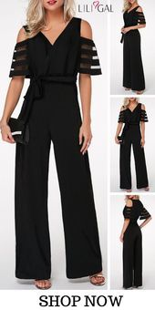 Gauze Patchwork Cold Shoulder V Neck Jumpsuit - Outfit Trends Dame Chic, Jumpsuit Outfit, Ruffle Jumpsuit, Black Jumpsuit, Look Fashion, Womens Fashion, Outfit Trends, Trending Outfits, Chic Outfits