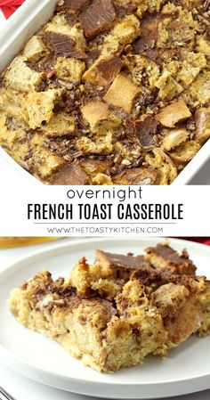 Overnight French Toast Casserole by The Toasty Kitchen #casserole #breakfast #breakfastcasserole #frenchtoastcasserole #overnightcasserole #pecans Breakfast Strata, Hashbrown Breakfast Casserole, Make Ahead Breakfast, Breakfast Dishes, Breakfast Recipes, Breakfast Items, French Toast Bread Pudding, French Bread French Toast, Overnight French Toast