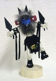 """Navajo Kachina - Hummingbird Navajo Kachina Dancer Doll. The Hummingbird Kachina is a brilliant impersonator during winter and spring dances. The Kachina bobs and calls like a bird while it moves with great speed. He may also appear as a runner because he moves fast enough to catch an individual and whip him with his decorative staff. 6"""", 10"""" or 12"""" - from $39.95."""