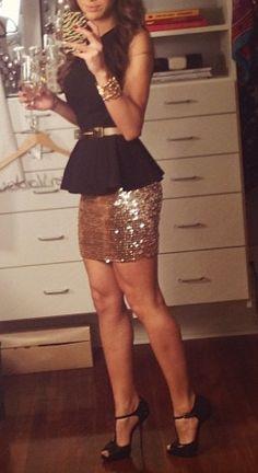 sparkle skirt, peplum top & waist belt. cute! Looks great on a slim frame.