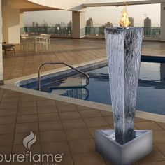 Pureflame Free Standing Bio Ethanol Outdoor Fireplace Tower Of Fire