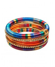 Multi Color Silk And Brass Indian Bangle Set
