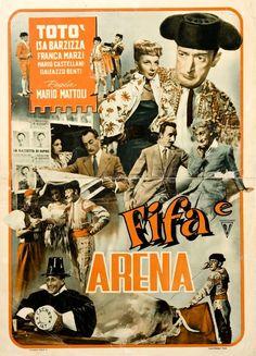"""Mario Mattoli's comedy """"Fifa e arena"""" (Italian title: """"Fright and arena""""; 1948), starring Totò (Antonio De Curtis), Isa Barzizza and Franca Marzi."""
