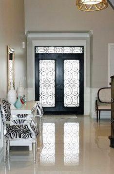 Glass entry door insert.