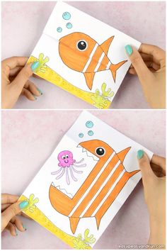 Surprise Big Mouth Fish Printable Craft - Easy summer craft for kids to make - this one is great both for a rainy day at home or as an classroom craft (summer camp with kids too). Fun fish craft for preschoolers and kindergarten