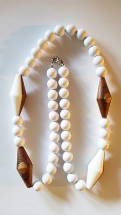 10 or 12mm white acrylic bead strand with 4 wood on one side and acrylic on the other focal beads for repurpose/upcycle (#12) by TheSparklingGallery on Etsy
