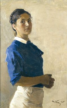 Tatiana Yablonskay, self-portrait, 1945 - Russian painter