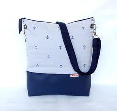 Schultertaschen - Blau-graue maritime Schultertasche :: Anker - ein Designerstück von frau-kaliki bei DaWanda