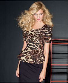Leopard & Peplum - what could be better?? $44 @ Macy's