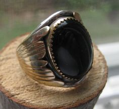 Vintage Sterling Silver Large Mens Ring with Black Onyx Stone Size 12 Hand Crafted Navajo on Etsy, $75.00