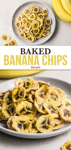 These baked banana chips are the perfect go-to healthy snack! Each serving has less than 100 calories and they're super easy to make! Clean Eating Recipes, Clean Eating Snacks, Healthy Snacks, Healthy Eating, Healthy Recipes, Simple Recipes, Light Recipes, Healthy Habits, Healthy Choices