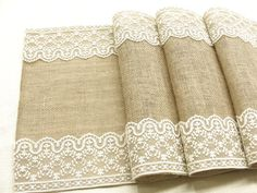 A Rustic chic Burlap table runner wedding table runner with vintage ivory Italian lace wedding decor , handmade in the USA