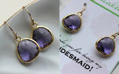Gold Tanzanite Earrings Purple Wedding Jewelry Tanzanite Bridesmaid Earrings Gift Violet Purple Bridal Jewelry Personalized Gift Under 25    ****Use coupon codes for ordering in bulk; Use coupon code at checkout****  7% off over $50: 7OFFBULK  10% off over $100: 10OFFBULK  12% off over $150: 12OFFBULK  15% off over $200: 15OFFBULK      ****Details and Dimensions****  The tanzanite glass earrings are 13mm with 5mm at the thickest part. The earwires are 14k gold filled, which are perfect for…