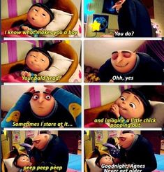 Despicable Me movie quotes, Agnes, bald head, Gru. Walt Disney, Disney Love, Disney Magic, Disney Pixar, Disney Facts, Disney Memes, Disney Stuff, Funny Shit, The Funny