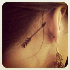 arrow tattoos behind ear