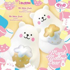 Great new iBloom Squishy. Big squishy and very slow rising. This is a Marshmallow Bear Squishy named Mr White. This time Mr White comes in 2 rare fun styles Squishy Packs, Ibloom Squishies, Finger Games, Charms Lol, Cute Squishies, Japanese Wall, White Smile, Mini Marshmallows, New Toys
