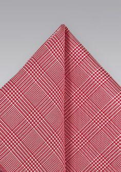 Men's Silk Pocket Square in Red with Glen Checks, $14.90 | Cheap-Neckties.com