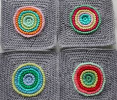 The 'Wheels within Wheels' blanket is going along quite well, I have finished the background grey on all of the centres that I have mad...