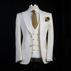 Classic style Groom Tuxedos Big Pesked Lapel Groomsman Suit White Blazer as Wedding suit Custom Made Man Suit Jacket+pants+vest sold by FashionOk. Shop more products from FashionOk on Storenvy, the home of independent small businesses all over the world. Ivory Tuxedo, Groom Tuxedo, Tuxedo For Men, White Suits For Men, White Tuxedo Wedding, Tuxedo Suit, Mens Fashion Suits, Mens Suits, Plus Size Suits