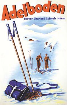 """1946 Skiing in Adelboden"""" in the Swiss Alps,vintage travel sport poster Ski Vintage, Vintage Ski Posters, Retro Poster, Art Deco Posters, Adelboden, Wakeboarding, Fürstentum Liechtenstein, Retro Illustration, Vintage Artwork"""