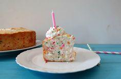 Homemade Funfetti Angel Food Cake, 112 calories a slice, 0 fat!