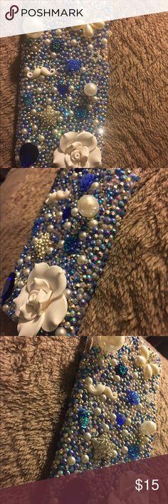 3D Bling Blue iPhone 7 Plus Hard Cabochon Case 3D Bling Blue.White & Silver iPhone 7 Plus Hard Kawaii Cabochon Case Accessories Phone Cases