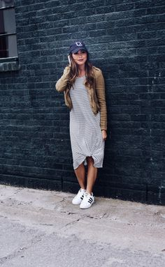 Cute Black and white stripe dress. Summer dress, spring dress. With adidas sneakers.