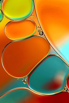 """♥ Such an incredible image ~ """"Oil & Water Abstract in Orange"""" by Sharon Johnstone -- shot with Canon with Canon EFS macro lens and extension tubes. Oil and water abstract. Shot with Canon with Canon EFS macro lens and extension tubes. Colorful Bubbles, Example Of Abstract, Abstract Images, Abstract Designs, Water Abstract, Painting Abstract, Orange Painting, Fotografia Macro, Abstract Photography"""