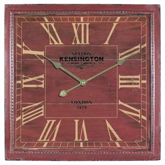 Kensington Station Square Wall Clock - 16W in. - Red - CLKA1B951