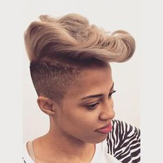 Mohawk hairstyles are one of the most diverse styles&can easily be pulled off on any face shape or skin tone.Check out our list of Mohawk styles for black women Modern Short Hairstyles, Mohawk Hairstyles, Cute Hairstyles For Short Hair, Black Women Hairstyles, Short Hair Cuts, Short Hair Styles, Amazing Hairstyles, Shaved Hairstyles, Mohawk Styles