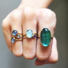 Just in time for Mothers Day; new rings from Gabriella Kiss. #18k #aquamarine #sapphire #tourmaline #scallopedbezel #gabriellakiss #jewelley #finejewelry #futureheirlooms #lovegold #augustla