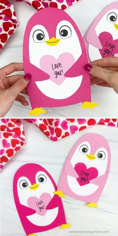 This penguin valentine craft is a fun activity to do with the kids at homework in the classroom. Download the free printable template and make it with preschoolers, kindergarten, and elementary children this Valentine's Day. Easy Valentine Crafts, Valentine Gifts For Kids, Valentines Day Activities, Handmade Valentine Gifts, Valentine's Day Crafts For Kids, Craft Activities For Kids, Craft Ideas, Kindergarten Crafts, Preschool Crafts