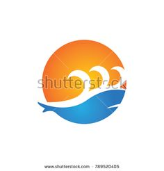 Water Wave Logo Template. whale vector Icon illustration