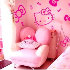 Good New Large HELLO KITTY COUTURE WALL DECALS Girls Bedroom Stickers Pink Room  Decor | EBay, Girls And Wall Decor Part 11