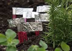 Cute duct tape garden markers