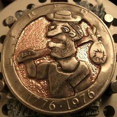 JOEY BLAYLOCK HOBO DOLLAR - HOBO - 1976 CCC EISENHOWER DOLLAR Hobo Nickel, Coins, Carving, Rooms, Wood Carvings, Sculptures, Printmaking, Wood Carving
