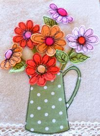 Machine Embroidery Hello everyone, how are you all? Life here at Sweet Birdy Love, is bubbling along nicely, like the big pot of soup I have on the st. Freehand Machine Embroidery, Free Motion Embroidery, Free Machine Embroidery, Free Motion Quilting, Embroidery Applique, Embroidery Designs, Flower Embroidery, Sewing Art, Sewing Crafts