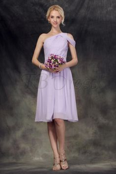 Terrific Pleats A-Line One-Shoulder Knee-Length Nastye's Bridesmaid Dress