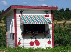 roadside Cherry stand in Michigan. This one is on Old Mission Peninsula. Maple syrup and cherries - on the honor system