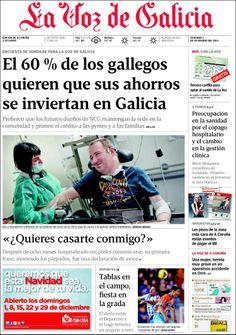 Los Titulares y Portadas de Noticias Destacadas Españolas del 1 de Diciembre de 2013 del Diario La Voz de Galicia ¿Que le pareció esta Portada de este Diario Español?