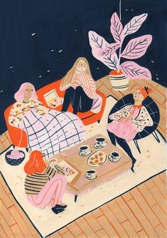 colorful illustration in pink navy and orange | #illustration #pinkorange #navy Josefina Schargorodsky