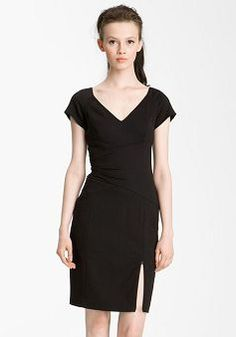 Faddish Short Length Sheath Chiffon Asymmetric Waist Little Black Evening Dress - 1300258004B - US$89.29 - BellasDress
