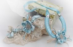 Blue flower and lace uxury handmade garter from Silk Garters