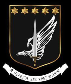 Brasão de Armas da Unidade Especial de Polícia (UEP) Ordenação heráldica : ESCUDO - de negro, pleno, com bordo de ouro, tendo em che...