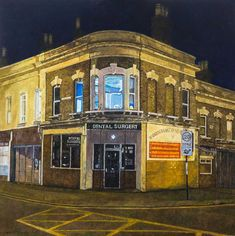 """Dental Surgery"" painted by Doreen Fletcher. Definition Of Color, East End London, Nostalgic Art, How To Order Coffee, Seaside Resort, Shop Fronts, Chinese Restaurant, Shades Of White, Urban Landscape"